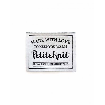 """Petite Knit """"Made With Love To Keep You Warm"""" label"""