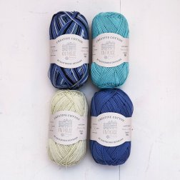 Creative Cotton x 4 - Cornflower/Lime